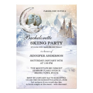 Bachelorette Romantic Skiing Party Invitation