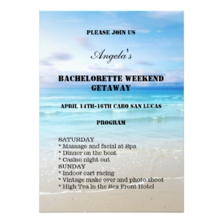 Beach bachelorette or hen party weekend template invitation