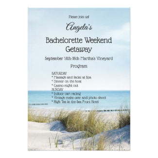 Beach bachelorette weekend getaway itinerary template invitation