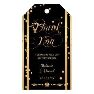 Chic black and gold confetti wedding favor Thank You gift tag