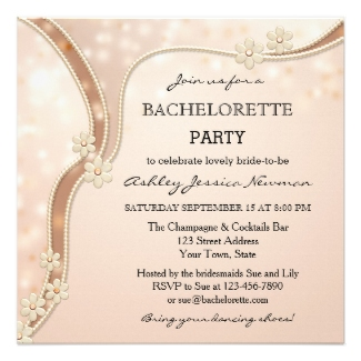 Chic chocolate sparkling bachelorette or hen party invitation