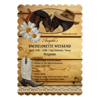 Cowgirl horse lovers bachelorette or hen weekend itinerary template invitation