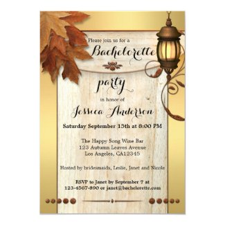 Fall leaves lantern rustic gold bachelorette party invitation