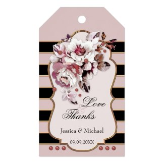 Blush pink and black striped wedding favor Thank You gift tag with gorgeous flowers