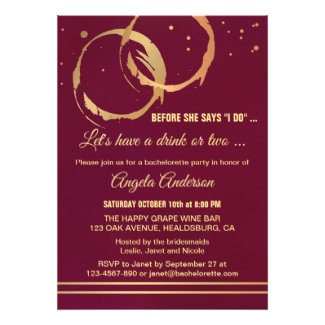 Gold Marsala Burgundy Wine Stain Bachelorette Party Invitation