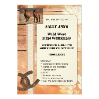 Country and western horse theme bachelorette or hen weekend invitation