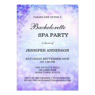Lilac lavender bachelorette spa party invitation
