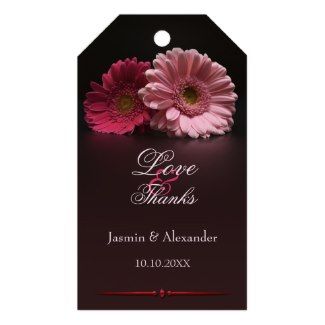 Pink fuchsia gerbera floral wedding Thank You gift tag