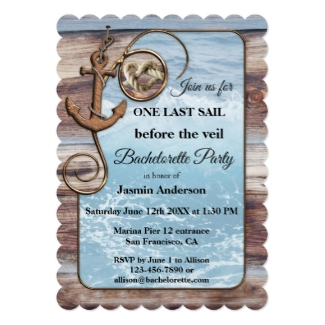Rustic Nautical Bachelorette Party Invitation
