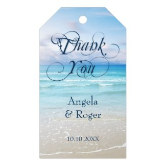Tropical turquoise beach or destination wedding Thank You favor gift tag