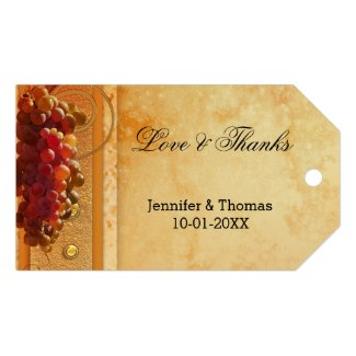 Vintage grapes wine or vineyard wedding favor Thank You gift tag