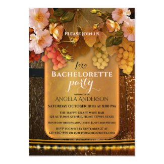 Classic wine themed string lights bachelorette party invitation