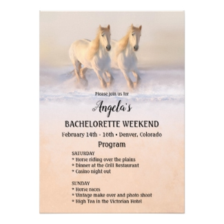 Winter horse themed bachelorette weekend itinerary invitation