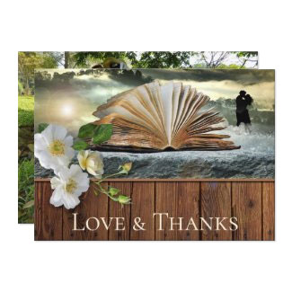 Your photo roses book lovers literary wedding thank you cards