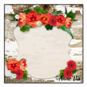 Rustic wood with red flowers wedding collection