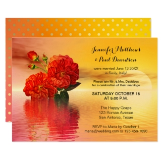 Elope or after wedding invitation with Mexican and Indian inspired botanical floating flowers