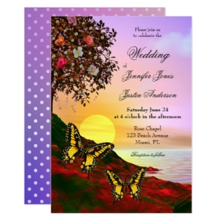 Colorful art wedding invitation with butterflies at the ocean at sunset in bold colors