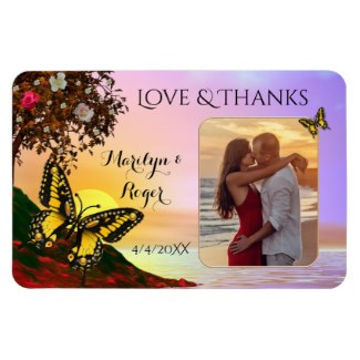 Love and thanks wedding photo favor magnet with butterflies and flowers