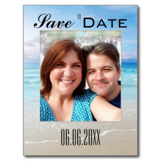 Quirky beach theme Save the Date with your own selfie photo
