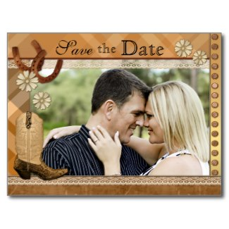 Country and western horse theme photo Save the Date card