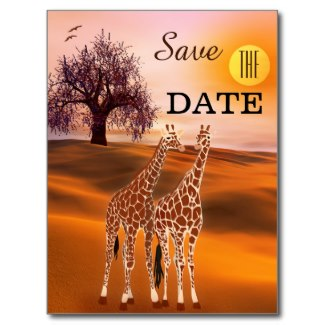 Giraffe, safari or zoo theme Save the Date card