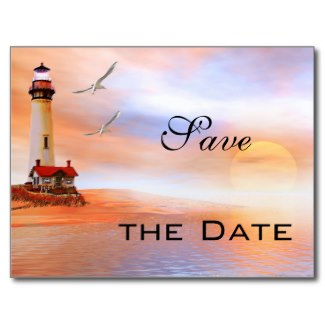 Lighthouse beach art Save the Date card