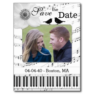Black and white music themed Save the Date card