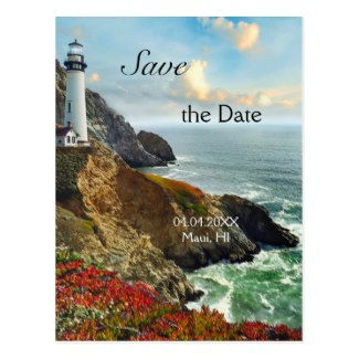 Nautical lighthouse Save the Date postcard
