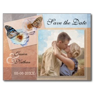Pastel butterflies photo Save the Date card