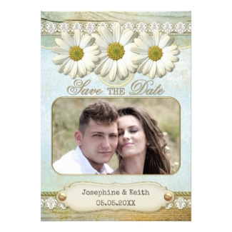 Rustic country daisy photo Save the Date card