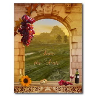 Classic Italian atmosphere wine or vineyard Save the Date card