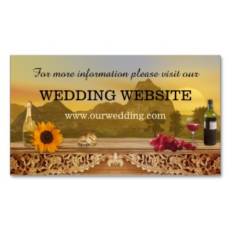Vineyard or wine theme wedding website insert card