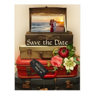 Vintage destination travel theme Save the Date photo card