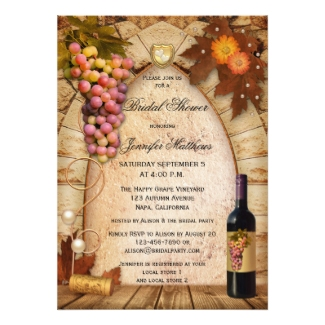 Vineyard wine theme bridal shower invitation