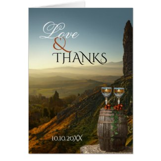 Vineyard winery wedding Thank You photo card