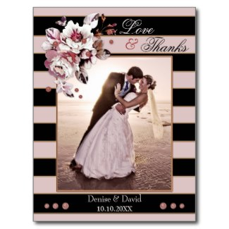 Love and thanks blush pink and black striped floral wedding thank you card