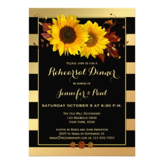 Rehearsal dinner invitation featuring gold stripes and sunflowers