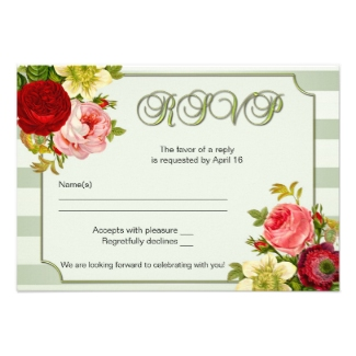 Green striped wedding RSVP card with botanical roses