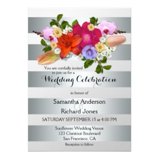 Silver stripes with colorful flowers wedding invitation