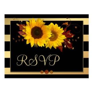 Sunflower gold striped wedding RSVP postcard