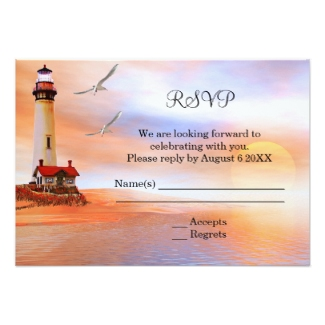 Beach lighthouse wedding RSVP with lighthouse at sunset
