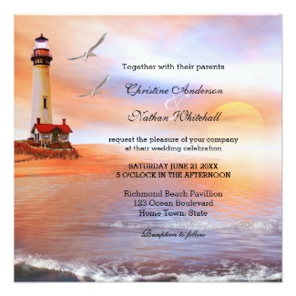 Beach wedding invitation with a lighthouse at sunset