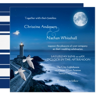 Nautical wedding invitation with lighthouse and full moon