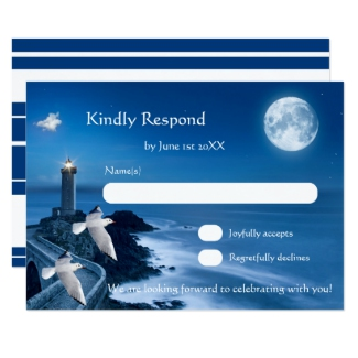Nautical wedding RSVP card with a lighthouse, full moon and seagulls