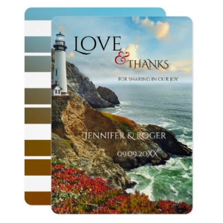 Nautical wedding Thank You card featuring a lighthouse at a rocky coast with flowers