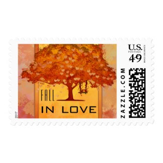 Watercolor autumn tree with swing wedding stamp