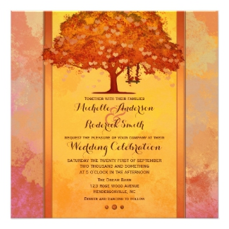 Colorful watercolor fall wedding invite with tree and swing