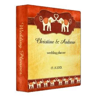 Indian tribal elephants wedding planner binder