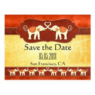 African or Indian ivory colored elephants Save the Date card
