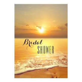 Golden beach sunset bridal shower invitation